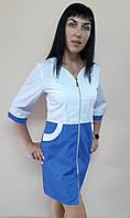 Женский медицинский халат Жасмин хлопок на молнии три четверти рукав