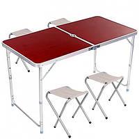 Стол для пикника усиленный с 4 стульями Folding Table раскладной столик чемодан 120х60х55/60/70 см Коричневый
