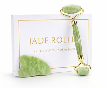 Jade roller Скребок гуаша и массажный роллер в подарочной коробочке