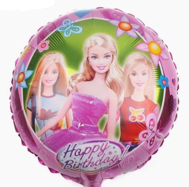 """Фольгована кулька коло Happy Birthday барбі 18"""" Китай"""
