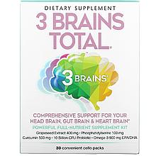 """Комплекс для улучшения работы мозга, сердца и кишечника Natural Factors """"3 Brains Total"""" (30 пакетиков)"""