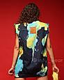 Джинсовая жилетка Тайдай женская безрукавка с принтом удлиненная, фото 2