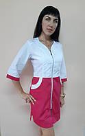 Жіночий медичний халат Жасмин коттон на блискавці три чверті рукав