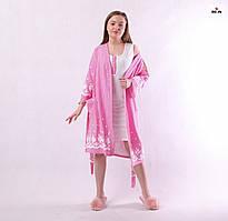 Комплект жіночий для будинку халат в смужку і сорочка, для вагітних і годуючих мам р. 42-50