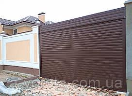 Автоматические ролетные ворота въездные из алюминиевого профиля Doorhan RH77N ш3000 в2100(RAL8014 коричневый)