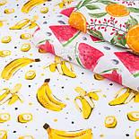 """Лоскут ткани с принтом """"Червертинки арбуза и косточки"""" на белом (№3387), размер 42*120 см, фото 5"""