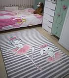 """Плюшевий утеплений дитячий килимок """"Класики і зайчик-балерина"""" сірий, фото 5"""