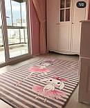 """Плюшевий утеплений дитячий килимок """"Класики і зайчик-балерина"""" сірий, фото 4"""