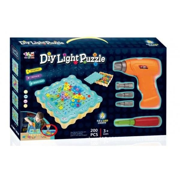 Kонструтор - мозаика Diy Light Puzzle с шуруповертом 200 деталей (96231)
