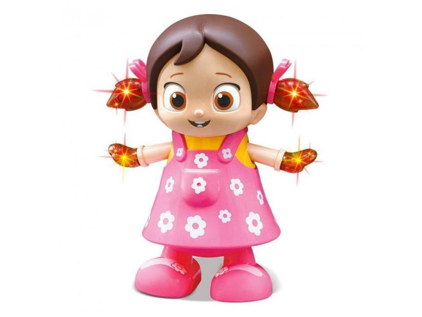 Музыкальная танцующая Девочка Робот Dancing Robot танцор светящийся интерактивный Розовый 12x12x22 см AVEO3013