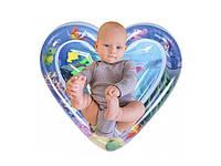 """Развивающий надувной водный аква-коврик для детей """"Сердце"""" для ребенка, с водой и рыбками, фото 1"""