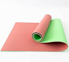 Килимок (каремат) для йоги, фітнесу та спорту OSPORT Profi 8мм (FI-0122-1) Червоно-зелений