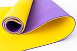 Килимок туристичний (каремат похідний і пляжний) OSPORT Tourist Pro 8мм (FI-0122-2) Фіолетово-жовтий, фото 2