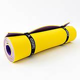 Килимок туристичний (каремат похідний і пляжний) OSPORT Tourist Pro 8мм (FI-0122-2) Фіолетово-жовтий, фото 3