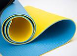 Килимок туристичний (каремат похідний і пляжний) OSPORT Tourist Pro 8мм (FI-0122-2) Жовто-синій, фото 2