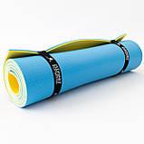 Коврик туристический (каремат походный и пляжный) OSPORT Tourist Pro 8мм (FI-0122-2) Желто-синий, фото 3