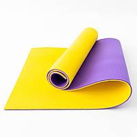 Коврик для йоги, фитнеса и спорта (каремат спортивный) OSPORT Спорт Pro 8мм (FI-0122-1) Фиолетово-желтый