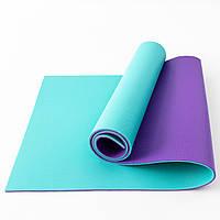 Коврик для йоги, фитнеса и спорта (каремат спортивный) OSPORT Спорт Pro 8мм (FI-0122-1) Фиолетово-бирюзовый