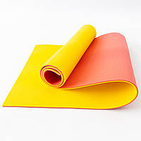 Коврик для йоги, фитнеса и спорта (каремат спортивный) OSPORT Спорт Pro 8мм (FI-0122-1) Красно-желтый