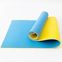 Коврик для йоги, фитнеса и спорта (каремат спортивный) OSPORT Спорт Pro 8мм (FI-0122-1) Желто-синий