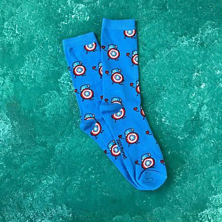 Шкарпетки Високі Жіночі Чоловічі Marvel DC pattern Капітан Америка Блакитні 37-43, фото 2