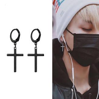 Мужские серьги-кольца с крестом черные, фото 2