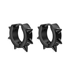 Мужские серьги-кольца с шипами черные