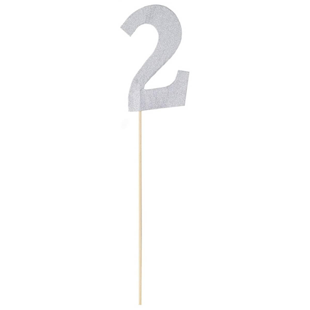 Топпер Цифра 2 серебро блеск 27см