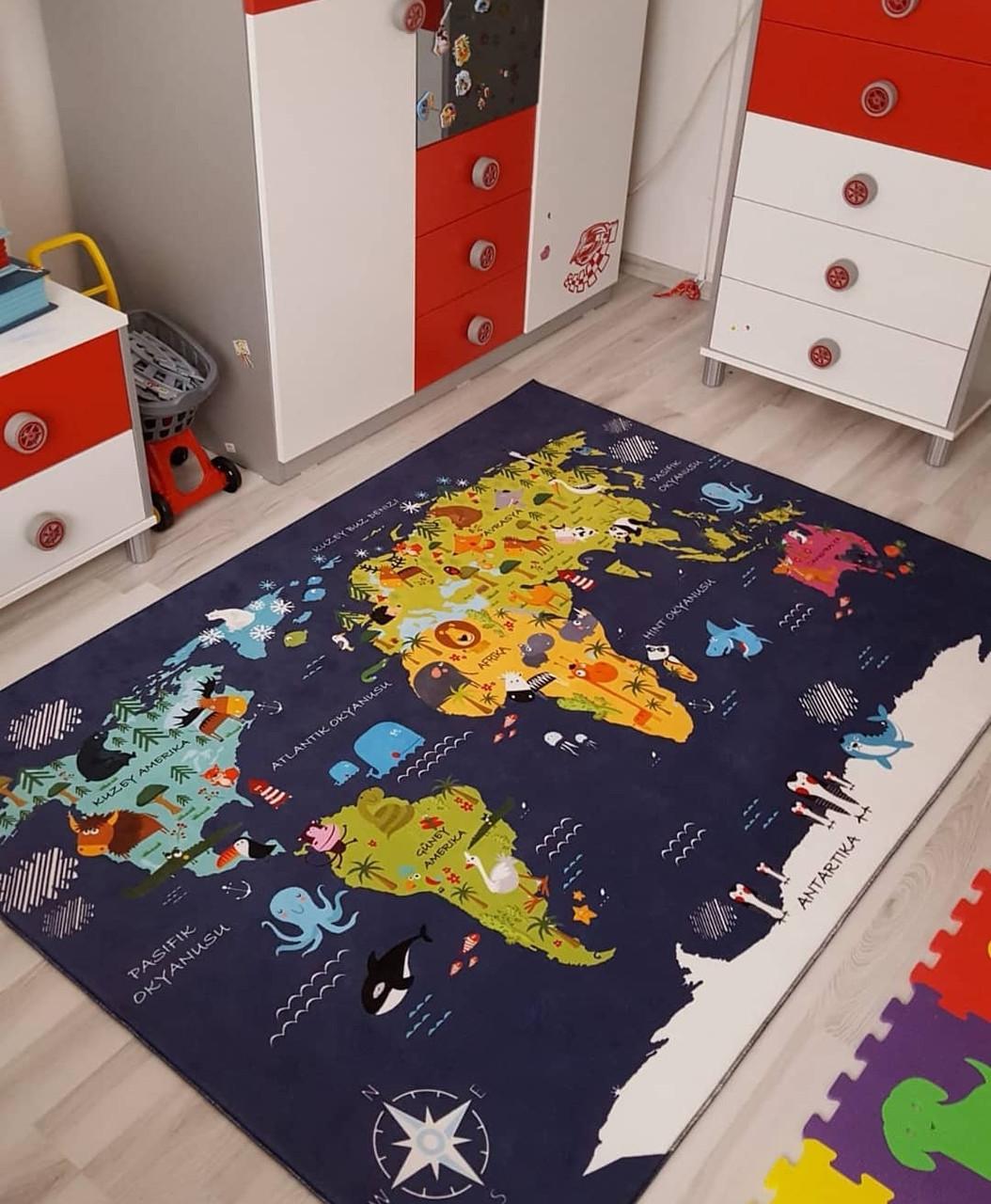 """Плюшевый утепленный детский коврик """" Карта мира"""" синий"""