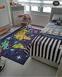 """Плюшевый утепленный детский коврик """" Карта мира"""" синий, фото 4"""