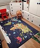 """Плюшевий утеплений дитячий килимок """"Карта світу"""" синій, фото 2"""
