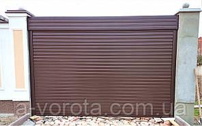 Въездные ролетные ворота механические из алюминиевого профиля Doorhan RH77N ш3000 в2100(RAL8014 коричневый)