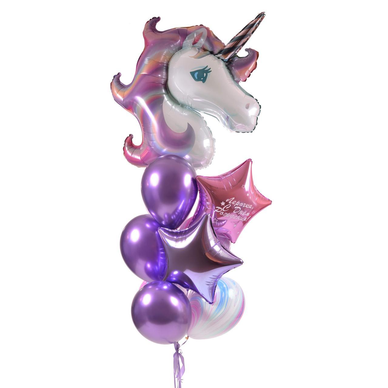 Зв'язка повітряних кульок з головою єдинорога і фольгированными зірками
