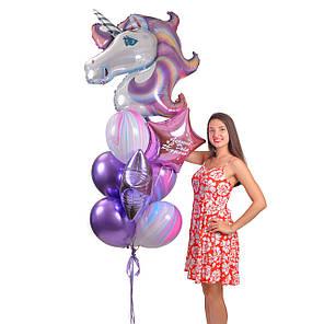 Зв'язка повітряних кульок з головою єдинорога і фольгированными зірками, фото 2
