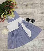 """Платье детское в полоску для девочки """"БАНТ"""" размер 3-6 лет,цвет белый с синим, фото 1"""