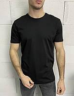 Мужская черная однотонная футболка турецкая, приталенная стильная футболка Турция хлопковая S M L XL