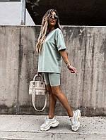 Женский прогулочный костюм с удлиненной футболкой и велосипедками (Норма), фото 2