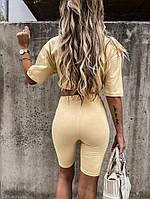Женский прогулочный костюм с удлиненной футболкой и велосипедками (Норма), фото 4