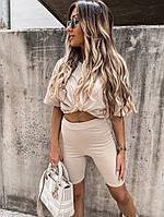 Женский прогулочный костюм с удлиненной футболкой и велосипедками (Норма), фото 6