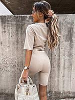 Женский прогулочный костюм с удлиненной футболкой и велосипедками (Норма), фото 10