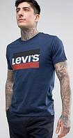 Брендовая футболка LEVIS, левайс, темно-синяя, красное лого, мужская, летняя, хлопок