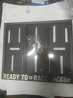 Рамка под мото номер с надписью Ready To Race KTM ( Чёрная )