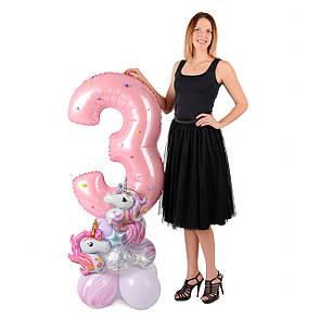 Цифра 3 розовая на подставке с мини-единорогами, фото 2
