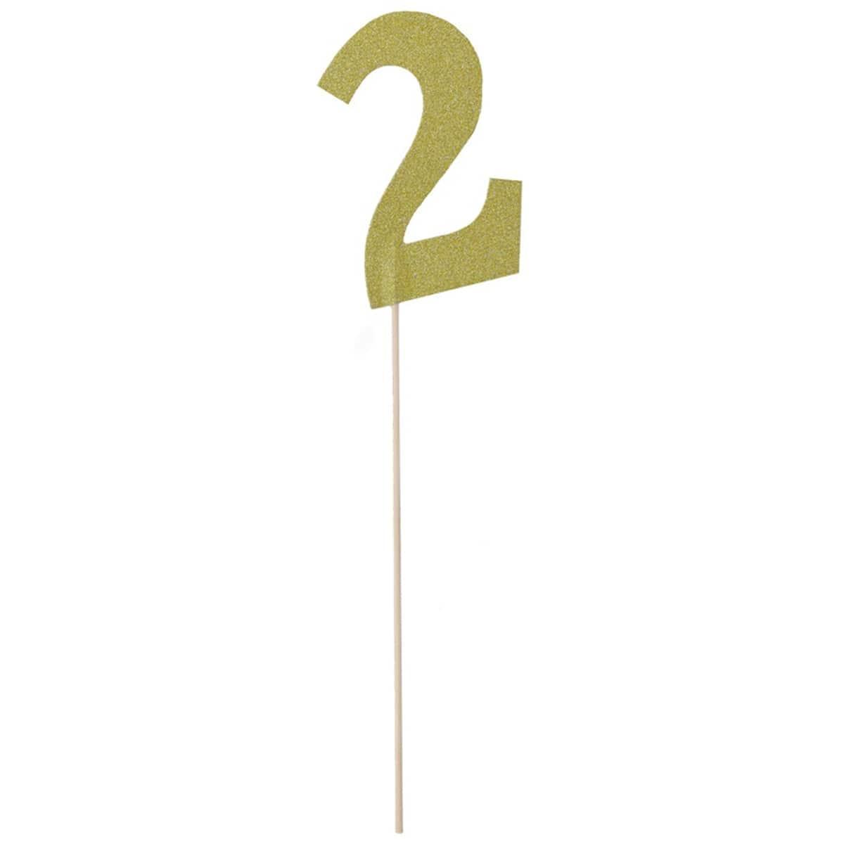 Топпер Цифра 2 золото блеск 27см
