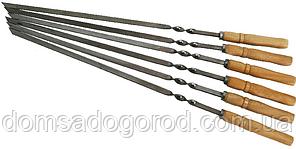 Шампур металл с деревянной ручкой - 58 см (широкий)