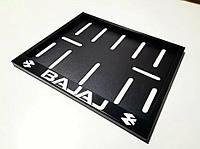 Рамка под мото номер с надписью BAJAJ ( Черная )