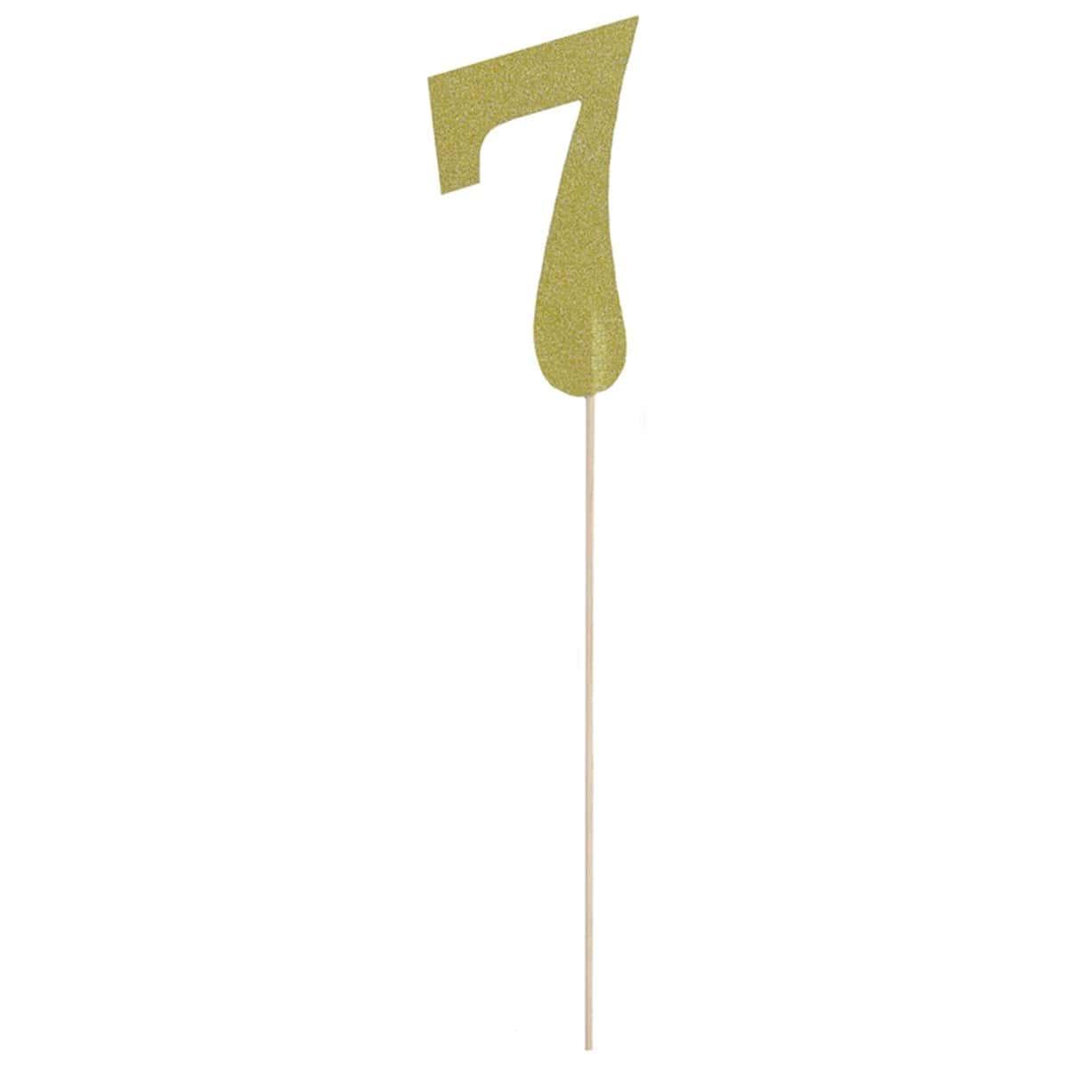 Топпер Цифра 7 золото блеск 27см