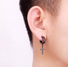 Чоловічі сережки-кільця з маленьким хрестиком YXYSM чорні, фото 2