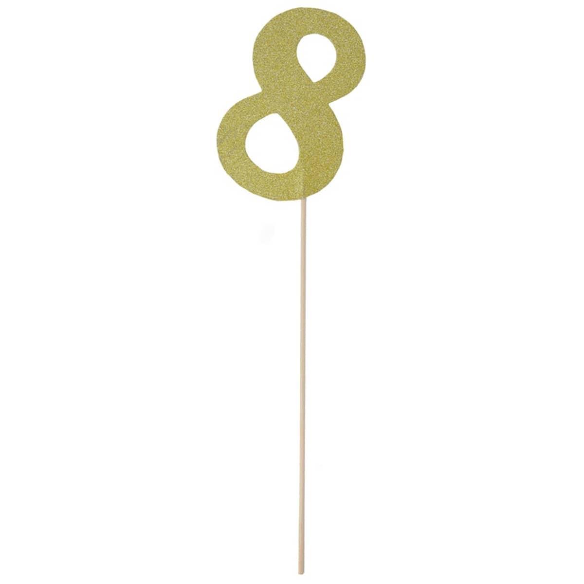 Топпер Цифра 8 золото блиск 27см