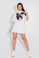 Стильная женская футболка-платье Микки Маус  хлопок oversize 42-44 46-48 черный белый бежевый